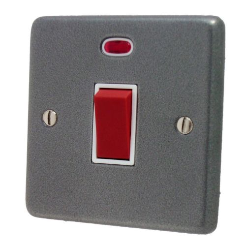 G&H CP46W Standard Plate Pewter 45 Amp DP Cooker Switch & Neon Single Plate